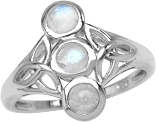 3 Stone 4mm Natural Round Shape Moonstone 925 Sterling Silver Triquetra Celtic Knot Ring