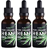 (3 Pack) Pure Organic Hemp Oil Extract 5000mg, Made in USA, for Anxiety, Stress, Pain, Inflammation, Sleep Well, Vegan Friendly, GMO Free, 1oz in Each Bottle