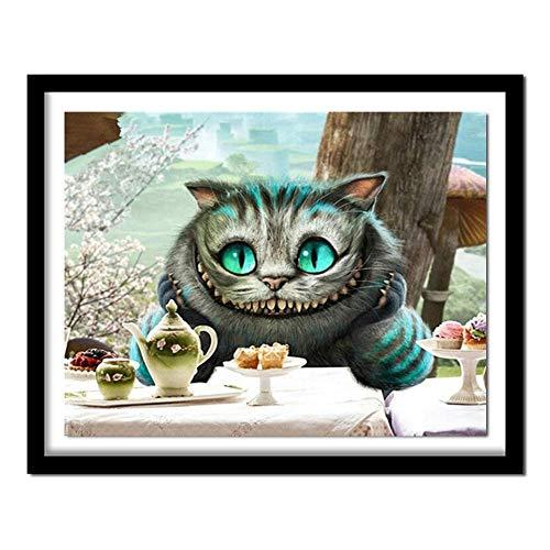 DIY 5D Diamond Painting by Number Kit,Cartoon cat Full Drill Crystal Rhinestone Mosaic Embroidery Cross Stitch Arts Craft Canvas Wall Decor (30x40cm,12x16inch)