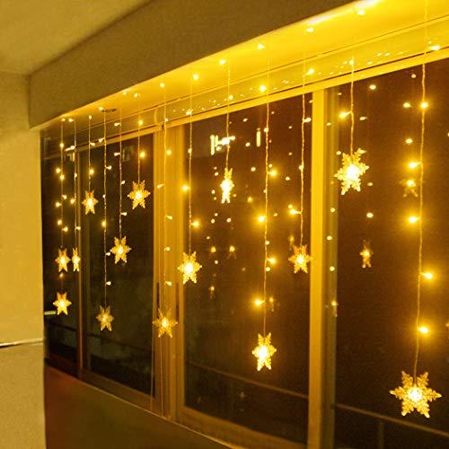 LED Lichterkette, Schneeflocke Fenster, Weihnachtsbeleuchtung Innen Warmweiß für Weihnachten Geburtstag Party Hochzeit, 94er LEDs Lichtervorhang Außen IP44 24V Niederspannung 8 Modi 3,6M x 1M