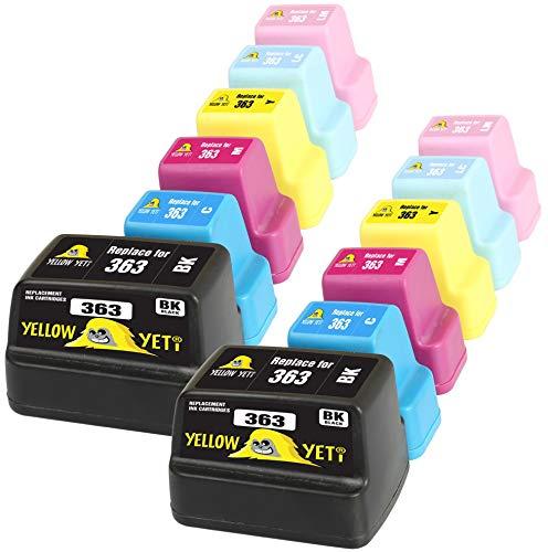 Yellow Yeti Reemplazo para HP 363 | 12 Cartuchos de Tinta compatibles con HP Photosmart C7280 C8180 C5180 C6180 C6280 C7180 3310 3210 3110 8250 D6160 D7160 D7260 D7460