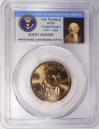 2007 D Pos. A John Adams Presidential Dollar PCGS MS 65 FDI Presidential Label Holder