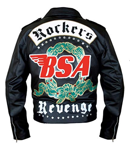 Feather Skin Giacca Uomo BSA George Michael Faith Rockers Revenge Stile Biker Moto Originale Giacca di Pelle Nero- XL