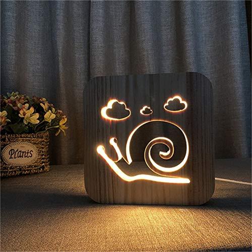 Hölzerne Schneckenform ausgehöhlt Warmweiß oder Nachtlicht 3D LED Tischlampe Kinder Geburtstagsgeschenk Nachtzimmer Dekoration