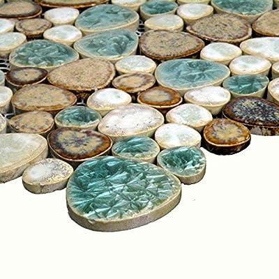 Hominter Tile Sample 3 x 12 Inches: Backsplash Tiles for Kitchen and Bathroom, Glazed Porcelain Tile Shower, Pebble Ceramic Pool Tile - Blue/Cream/Coffee PPT009