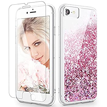 Maxdara Glitter Case for iPhone 6 6s 7 8 Case Glitter Liquid Women Girls Case with  Screen Protector  Bling Sparkle Luxury Pretty Cute Case for iPhone 6 6s 7 8 4.7 inches  Rosegold