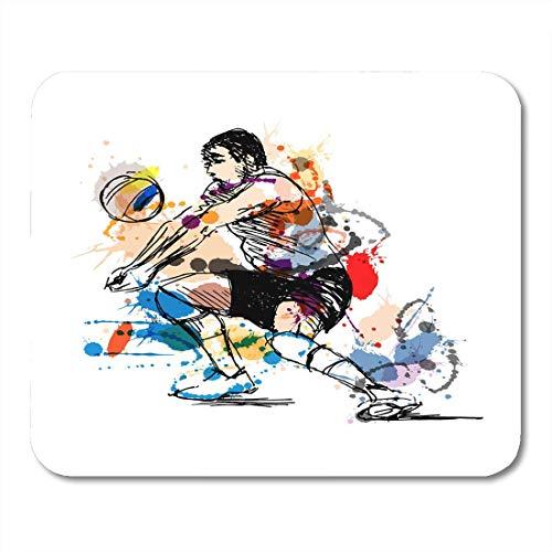 Luancrop Mausunterlage Aquarell-Salve farbiges Handskizzen-Volleyball-Spieler-Strand-Mann Mousepad für Notizbücher, Tischrechner-Mausunterlagen, Bürozubehöre