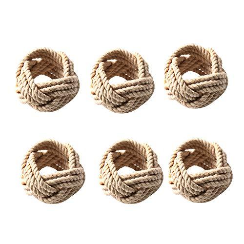 Xigeapg 6 StüCke NatüRliche Jute Serviettenschlaufe Seil Gewebte Serviettenschnalle Korded Serviettenschnalle Waxed Schnur Serviettenschlaufe