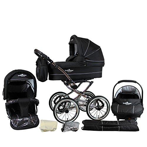 Bergsteiger Venedig Nostalgie Kinderwagen 3 in 1 Retro Kombikinderwagen Megaset 10 teilig inkl. Babyschale, Babywanne, Sportwagen und Zubehör (black edition)