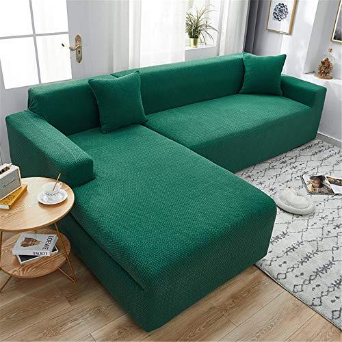 YMOMG Funda de sofá elástica en forma de L Spandex Jacquard tela Segmentada Funda de sofá, antideslizante para muebles (verde, 3 personas+3personas)