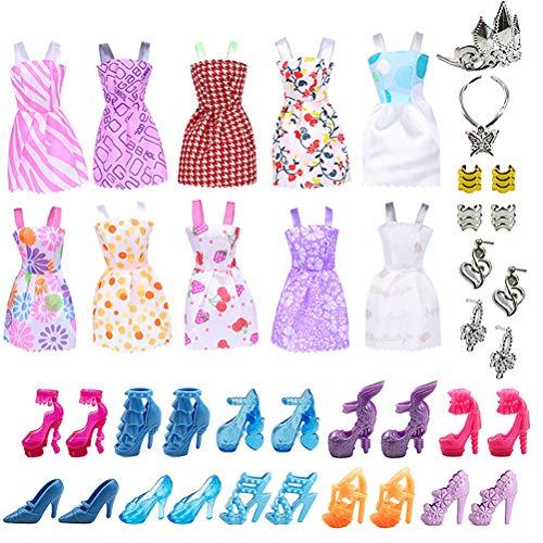 Doherty 30 unids/set Muñecas Ropa de Fiesta Vestidos con Muñecas Accesorios Zapatos Collares Niños Niños Juguete Regalos Vintage Barbie Muñecas Ropa Trajes Paquete Vestidos