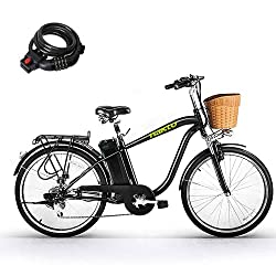 top 10 folding cruiser bike Nakto 250W Shimano electric bike with 6-speed gearbox and 36V 10Ah lithium battery