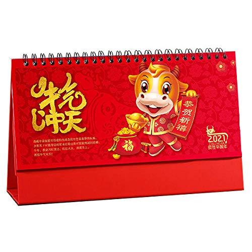 N \ A Calendari Sobremesa Chinos Año Nuevo 2021 Calendario Vista para el Año Lunar del Buey,23.5x8x14cm,Año Chino del Buey Calendario Papel para El Año Chino del Buey