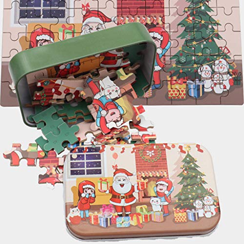 Mr.Tool 60 Piece Puzzles for Kids Ages 4-8 Christmas Santa Claus Puzzle with Box Kindergarten Handmade Child Gifts