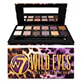 W7 | Wild Eyes Pressed Pigment Palette Makeup | Tones: Cream Mattes, Shimmers & Glitters | Colors: Soft Purples, Nudes, Pinks and Golds | Cruelty Free, Vegan Makeup For Women
