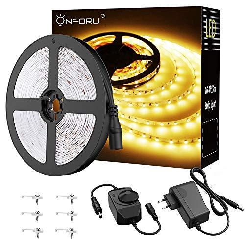 Onforu 5M LED Strip Dimmbar, 3000K Warmweiß LED Streifen, 300 LEDs Band Selbstklebend, 2835 LED Lichtband mit 12V Netzteil, Flexibel Leuchtband Innenbeleuchtung für Zimmer, Party, Küche Haus Deko