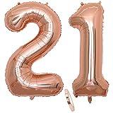 2 Globos Número 21 Años, Number 21 Globo Chica de oro rosa, 40'Figuras de globos con globo de lámina de helio inflable, Globo gigante para la decoración de la fiesta de cumpleaños, Prom (xxxl 100cm)