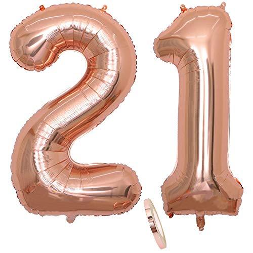 """2 Globos Número 21 Años, Number 21 Globo Chica de oro rosa, 40""""Figuras de globos con globo de lámina de helio inflable, Globo gigante para la decoración de la fiesta de cumpleaños, Prom (xxxl 100cm)"""