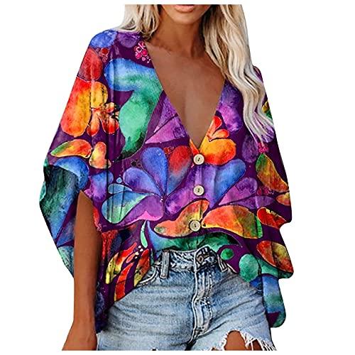 FMYONF Camiseta de verano bohemia para mujer, vintage, estampada, informal, cuello en...
