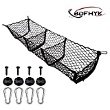 BDFHYK 3 Pocket Cargo Net Trunk Bed Organizer, Black Mesh Storage Net with 4 Metal Hooks, Heavy Duty Cargo Net for SUV, Cars, Pickup Truck Bed, 47.2 x 12 x 11 inches