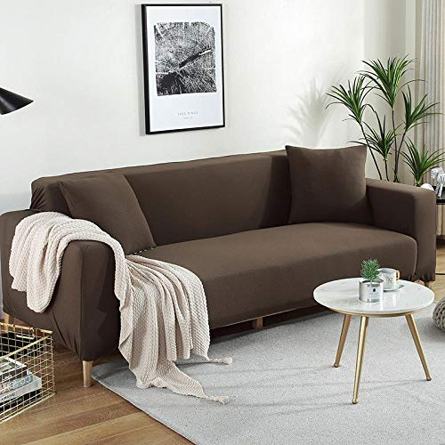 Allenger Protector Furniture Protector Cover,Knitted Stretch Jacquard Sofa Cover, Modern and Simple Four Seasons Universal Non-Slip Cushion Cover, Furniture Dust Protection Cover-Coffee_90140Cm