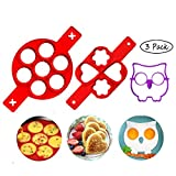 Pancake Mold Maker 3Pack, AuroTrends Silicone Pancake Maker, Nonstick Silicone Egg Molds Egg Rings Muffin Pancake Molds Heart &Round&Flower&Owl Baking Molds