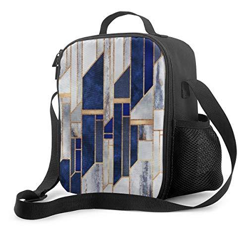 Bolsa de almuerzo aislada azul cielo de invierno bolsa refrigeradora portátil bolsa de transporte para adultos y niños a la escuela oficina al aire libre