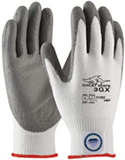 Protective Industrial Products Small White And Gray Great White 3GX Light wei Dyneema Diamond Blend Cut Resistant Glv With Knit Wrist And Polyurethane Coated Palm And Fingertips -72 Pair/Case