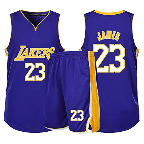 WU TH-Some NBA Maglia Los Angeles Lakers Lebron James # 23 Sport Estivi Canotte Uomo, Uniforme da Basket Compreso Pantaloncini,5XL