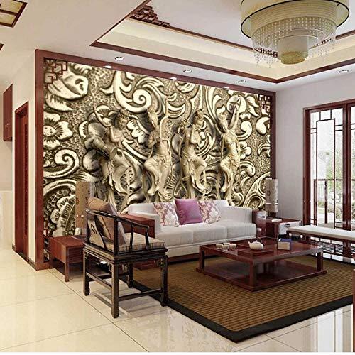 Animación Photo Wallpaper 3D Stereo Relief Escultura Mural Estilo europeo HD Vintage Living Room Hotel Decor Wallpaper-1