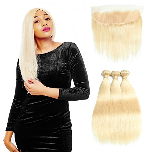 Queen Plus Hair Peruvian 613 Blonde Straight Human Hair 3 Bundles With 13x4 Lace Frontal Closure Pre Plucked Honey 8A Blonde Virgin Hair (22 24 26+18inch frontal)