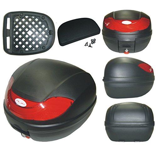 Topcase Moto Roller 30lt universal Respaldo Caja Maletín Negro Mate