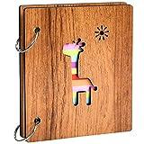 Álbum de Fotos Madera 3 Pulgadas Álbum de Memorias Álbum de Recortes DIY Scrapbook Kraft Creativo Álbum de Fotos para Aniversarios, Cumpleaños, Boda Regalo (Jirafa)