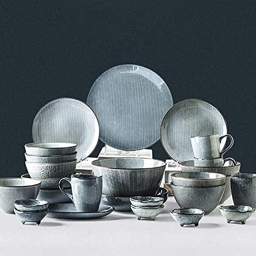 CCAN Juego de vajilla de Porcelana, Juego de vajilla Retro de Estilo japonés con Platos, Cuencos y Taza, Juego de vajilla de cerámica para la Cocina y el Comedor del hogar, Soporte para Horno