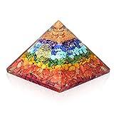 Orgone Chakra Pyramid- 7 Chakra Gemstone Orgonite Pyramid for Chakra Balancing- Emf Protection Psychic Meditation - Healing Love Yoga Chakra
