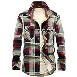 Camisas de invierno a cuadros casuales comodidad más terciopelo camisa masculina moda manga larga camisa top