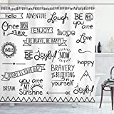 EdCott Varios Refranes sobre Felicidad Las Frases superación Personal habitación Decorativa Cortina baño fácil Limpiar Adecuada para baño baño Cortina Hotel Blanco Negro