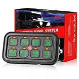 8 Gang Switch Panel, DJI 4X4 On-Off LED Car Switch Panel Circuit Control Relay System Box Universal Slim Touch Panel with Harness and Label Stickers for Truck Boat ATV UTV Caravan Marine
