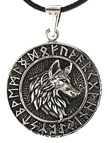 Kiss of Leather Wolfskopf Anhänger aus 925 Sterling Silber mit Baumwollband