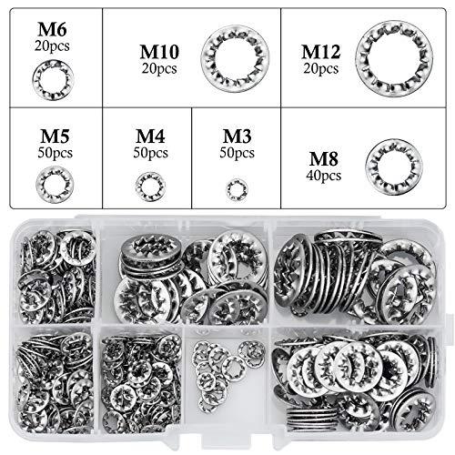 270 Piezas Arandelas de bloqueo de dientes internos acero inoxidable Arandelas de seguridad de estrella Herramientas de M3 M4 M5 M6 M8 M10 M12 Kit