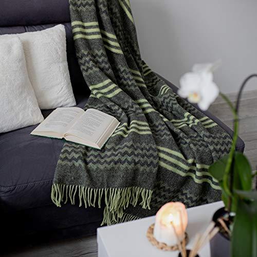 Linen und Cotton Decke Wolldecke Wohndecke Kuscheldecke Melody Gewellt Streifen - 100prozent Reine Neuseeland Wolle, Anthrazit Grau Grün (140 x 200 cm) Tagesdecke Überwurf Plaid Blanket Sofa Schurwolldecke