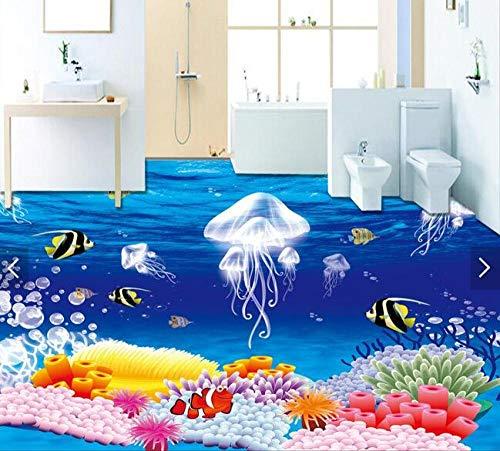 Xcmb 3d tapete 3 D PVC wandbilder wohnzimmer-Bodenbelag Benutzerdefinierte Wasserdichte Bild 3 D Fantasie Quallen Pflanzen 3D Badezimmer Bodenbelag Foto 3D Wandbilder Tapete-120Cmx100Cm
