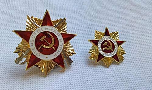 WLTY Medalla de Estrella roja soviética Rusa Alemana de la Segunda Guerra Mundial de tamaño Grande y pequeño chapada en Oro