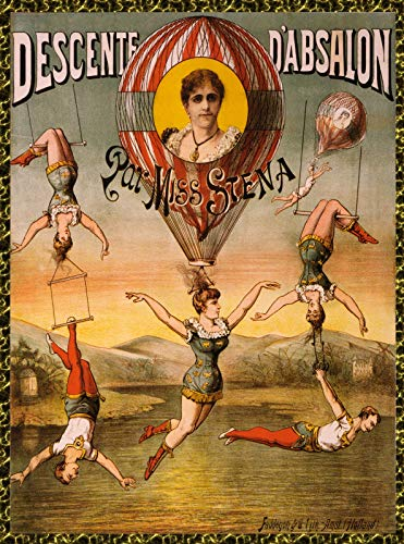 22'x28' Poster Reproduction Printed on Canvas Print.French Miss Siena.Hot air Balloon Circus act.9719