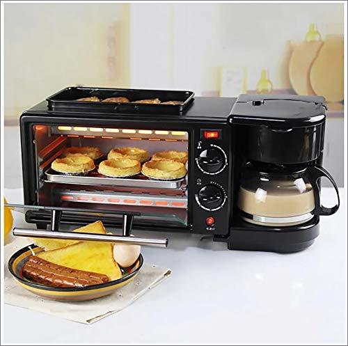 RHSMP Máquina De Desayuno 3 En 1, Cafetera, Horno Eléctrico, Tostadora, Parrilla, Pan, Tostadora De Pan