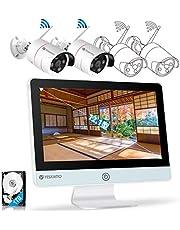 【AI発光・12.1型IPS液晶】 YESKAMO 防犯カメラ 屋外 wifi Super HD 300万画素 一体型 AI人感発光 録音 双方向通話 サイレン警報 100°広角 増設自由 1TB HDD内蔵 ワイヤレス防犯カメラ 1296P 300万画素 IP66防水防塵 屋外対応 金属製 屋外カメラ 4チャンネル録画機 12インチモニター IPS液晶パネル 防犯カメラセット AI人体検知 動体検知録画 携帯/PC遠隔視聴 H.265動画圧縮規格 wifiカメラ 音声警報 携帯連動通知 wifi 監視カメラ 屋外 暗視撮影 2個人感LED内蔵 夜でもカラー映像 技適とPSE認証取得 多彩な防犯対策方法 (ワイヤレス防犯カメラ2台+4チャンネル一体型親機+1TB HDD)