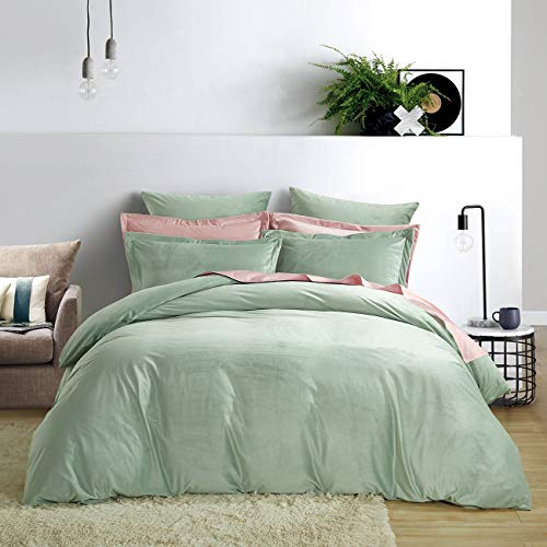 PHF Velvet Duvet Cover Set King Size (106' x 92'), Darkseagreen - 3 Pieces, Velour Cover with Corner Ties and Button - Soft, Solid, Warm for All Season