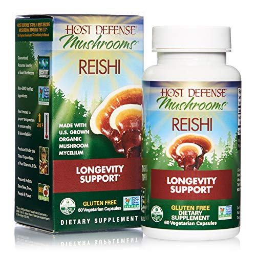 Host Defense, Reishi Capsules, Supports General Wellness and Vitality, Daily Mushroom Mycelium Supplement, USDA Organic, 60 Vegetarian Capsules (30 Servings)