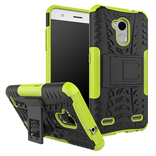 ZTE Blade V6 plus / V7 Lite / A2 Hülle, Heavy Duty Silikon Euti Fall Handyhülle 2 in 1 Hybrid Combo Dual Layer Shockproof Hülle Cover Tasche mit Kickstand für ZTE Blade V6 plus / V7 Lite / A2 (Grün)