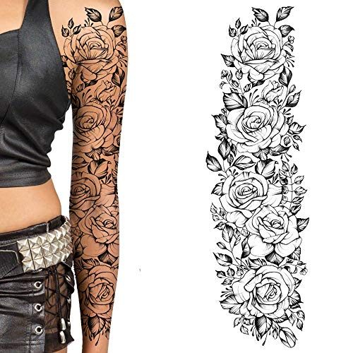 2 x Black rose flora flower temporary tattoos for women girls adult kids large flora big and small roses adult temp tattoo on transfer paper body art waterproof